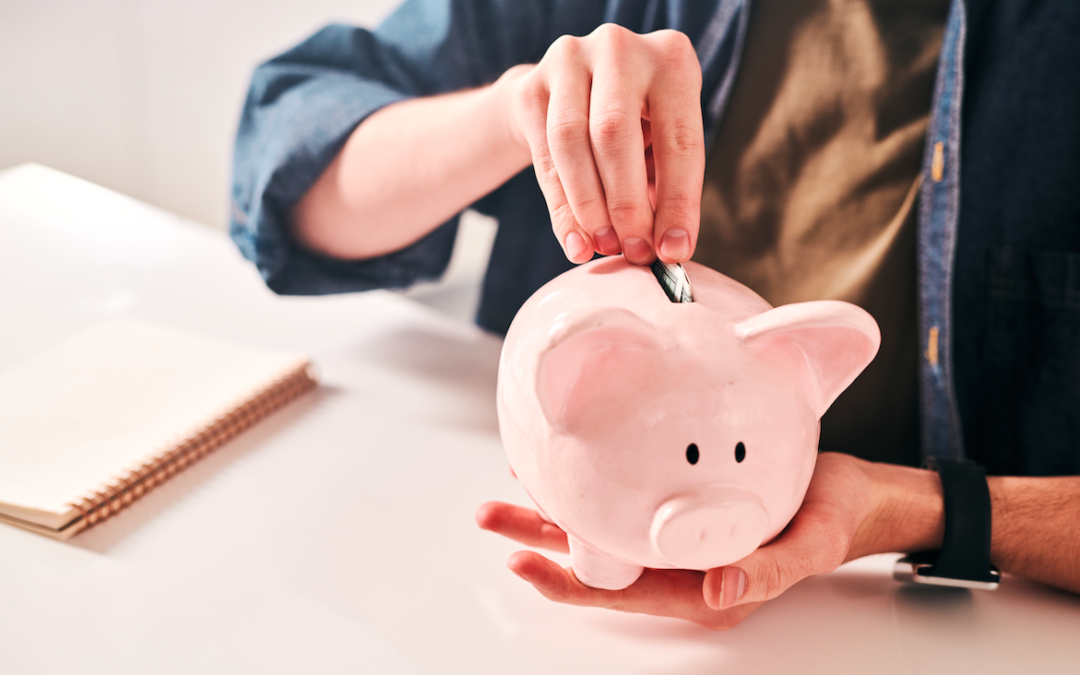 person putting coin into pink piggy bank